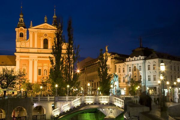 Jigsaw Puzzle-Evening view of Franciscan Church, Presernov ...