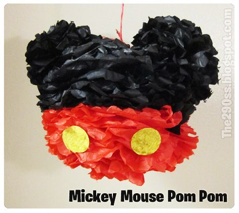 DIY Mickey Mouse Pom Pom Party Decorations MickeyMinnie Mouse