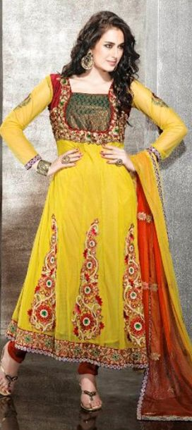 Colour combination of Red,Marron and yellow is superb....It is anarkali -style dress.... Full net witj inner broket zari thread sequence heavy work..........  Available at-> http://www.indianweddingsaree.com/SalwarProduct/88315.html