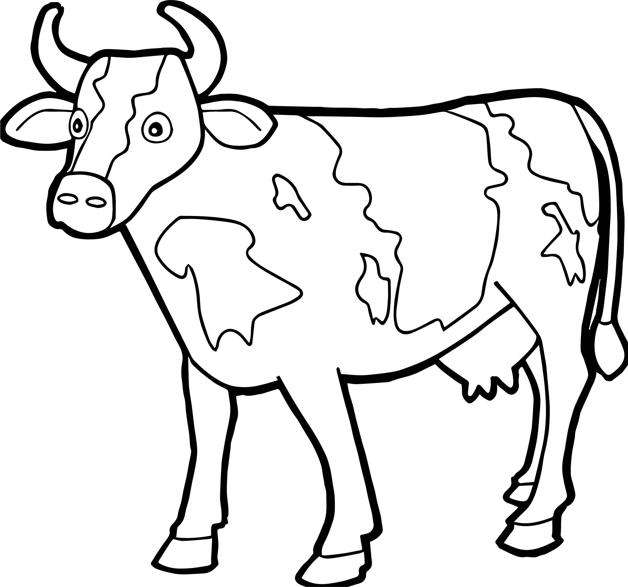 Nice Farm Animal Staying Cow Coloring Page Cow Coloring Pages