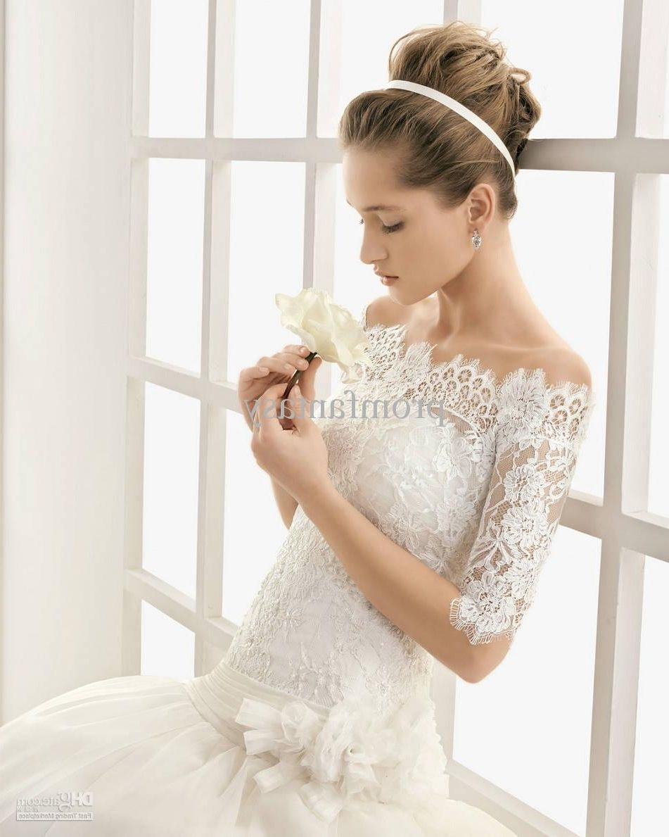 Wedding dresses with lace sleeves off the shoulder wedding dress