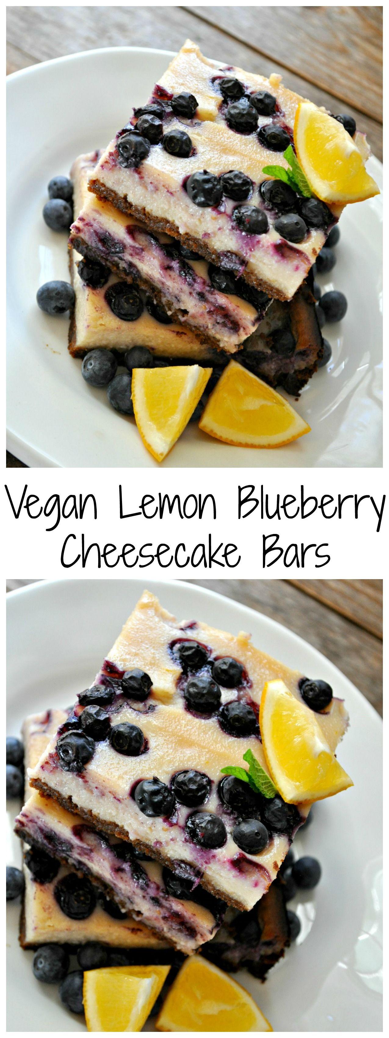 Vegan Lemon Blueberry Cheesecake Bars - Rabbit and Wolves