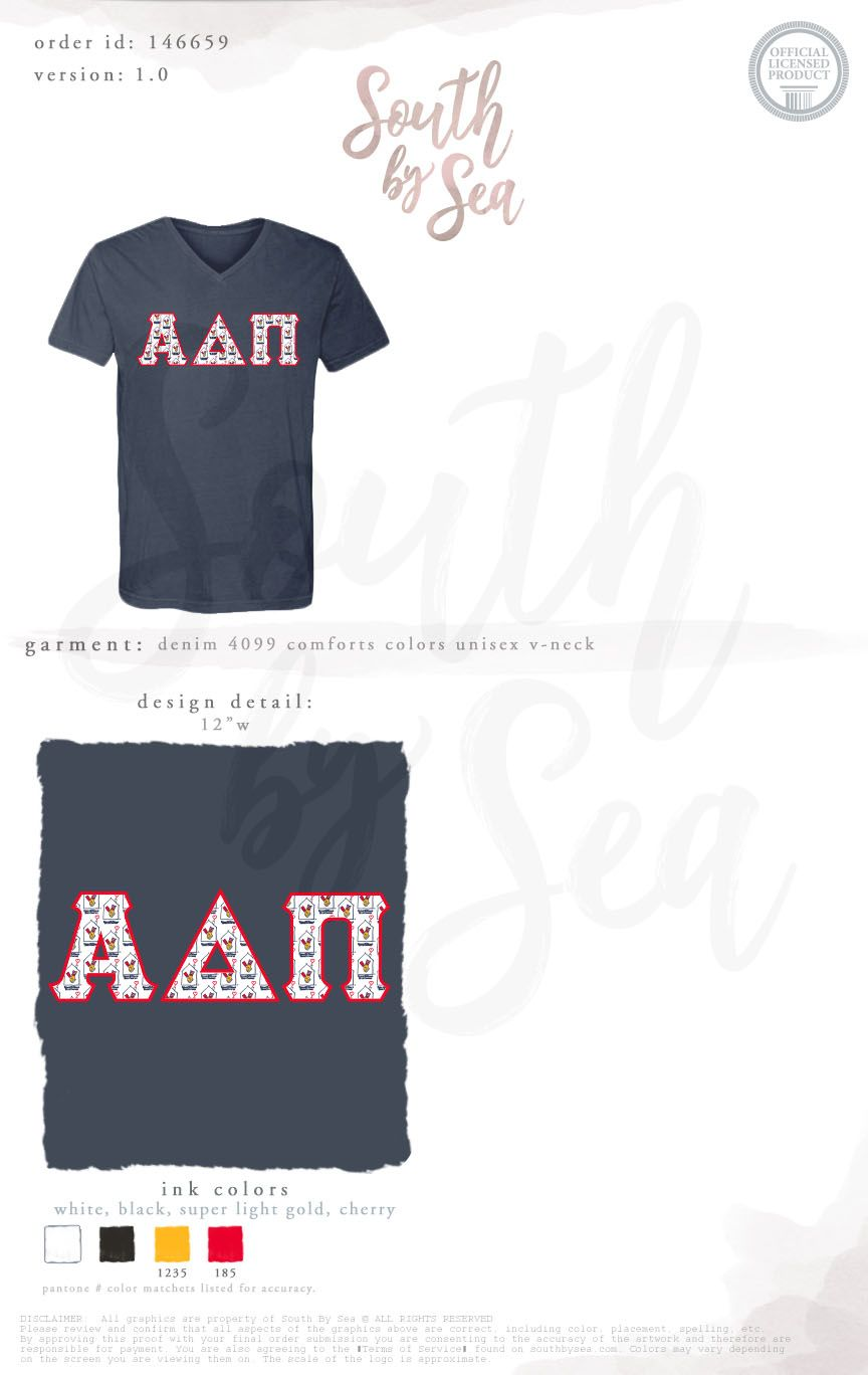 Alpha Delta Pi   ADPi   Tackle Twill   Block Letters