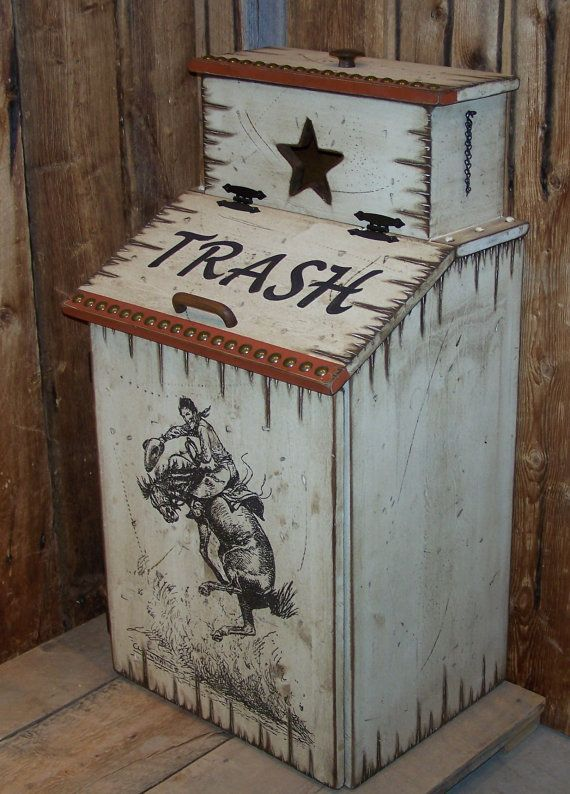 Wood Trash Can With Trash Can Bag Storage By