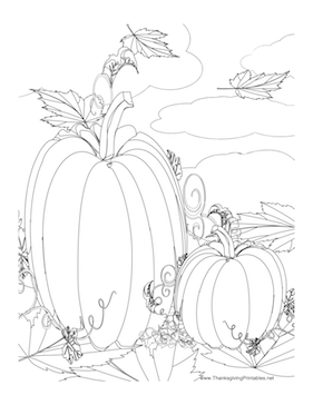This Thanksgiving coloring page features two pumpkins in a
