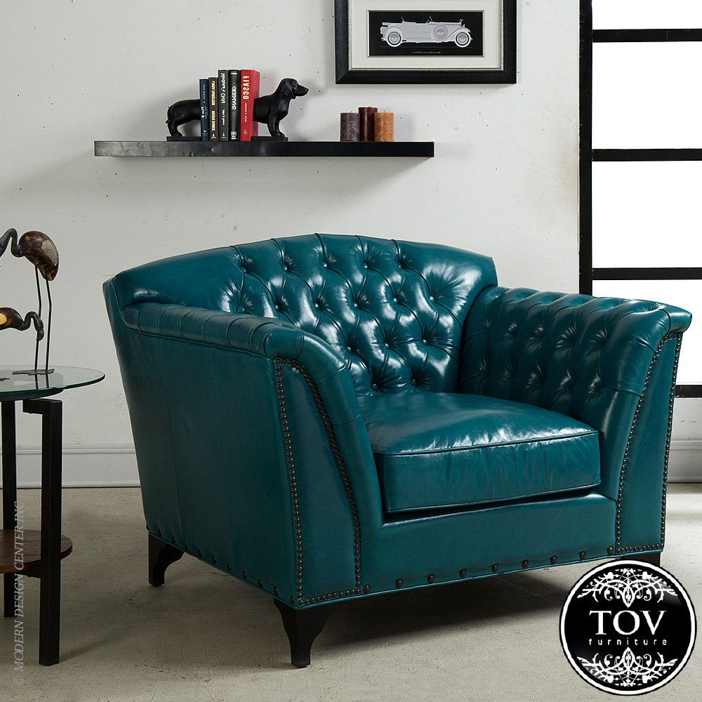 Universal Lighting And Decor Peacock Dark Turquoise Top Grain Leather Club  Chair