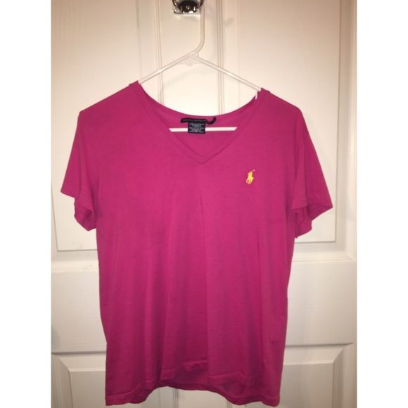 Pink Polo V-neck Pink polo v-neck w/ yellow horse. Great condition! Polo by Ralph Lauren Tops Tees - Short Sleeve