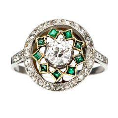 Diamod amp; Emerald Edwardian Engagement Ring