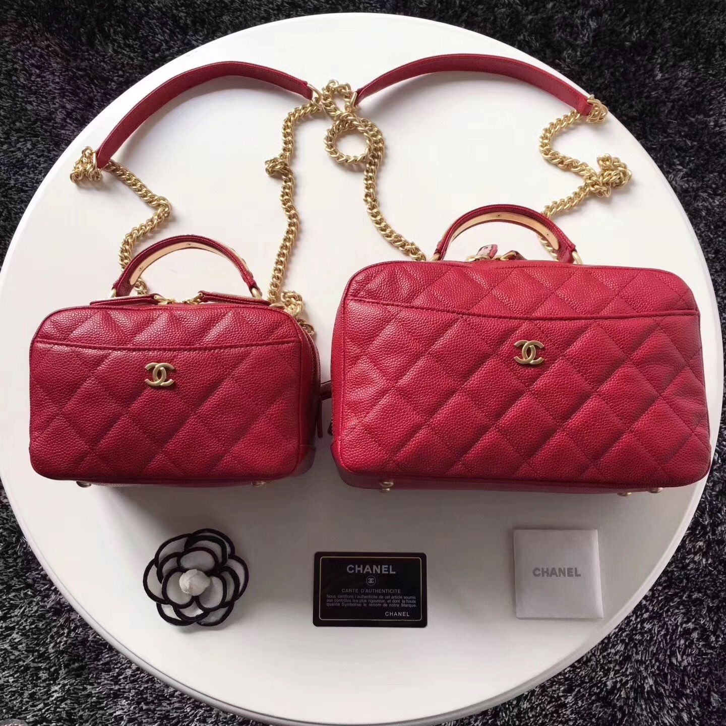 Chanel woman sling bag double zippers caviar original leather version 240  275 353315fa84