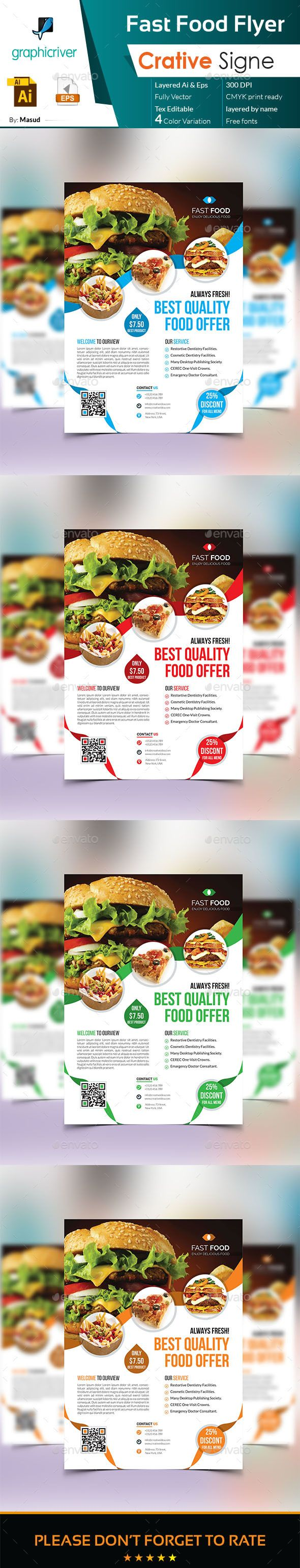 fast food flyer flyer template ai illustrator and template