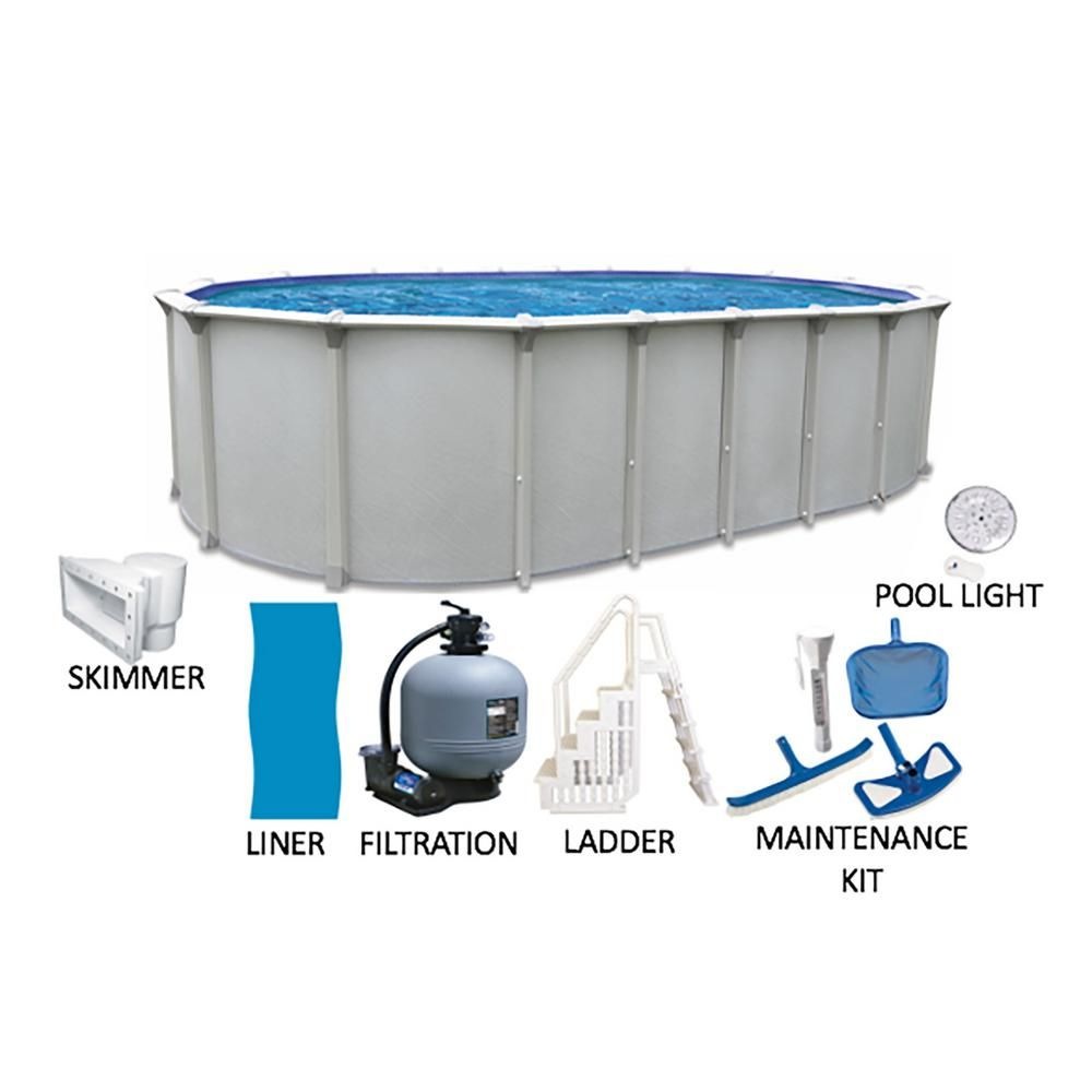Cinderella Independence 16 Ft X 32 Ft Oval X 52 In Deep Hard Side Metal Wall Above Ground Pool Package W Above Ground Pool In Ground Pools Led Pool Lighting