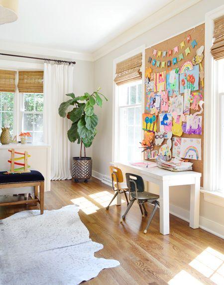 office playroom ideas. Neutral-Office-Kids-Cork-Board-Art-Desk - Love The Family Office Idea Playroom Ideas G