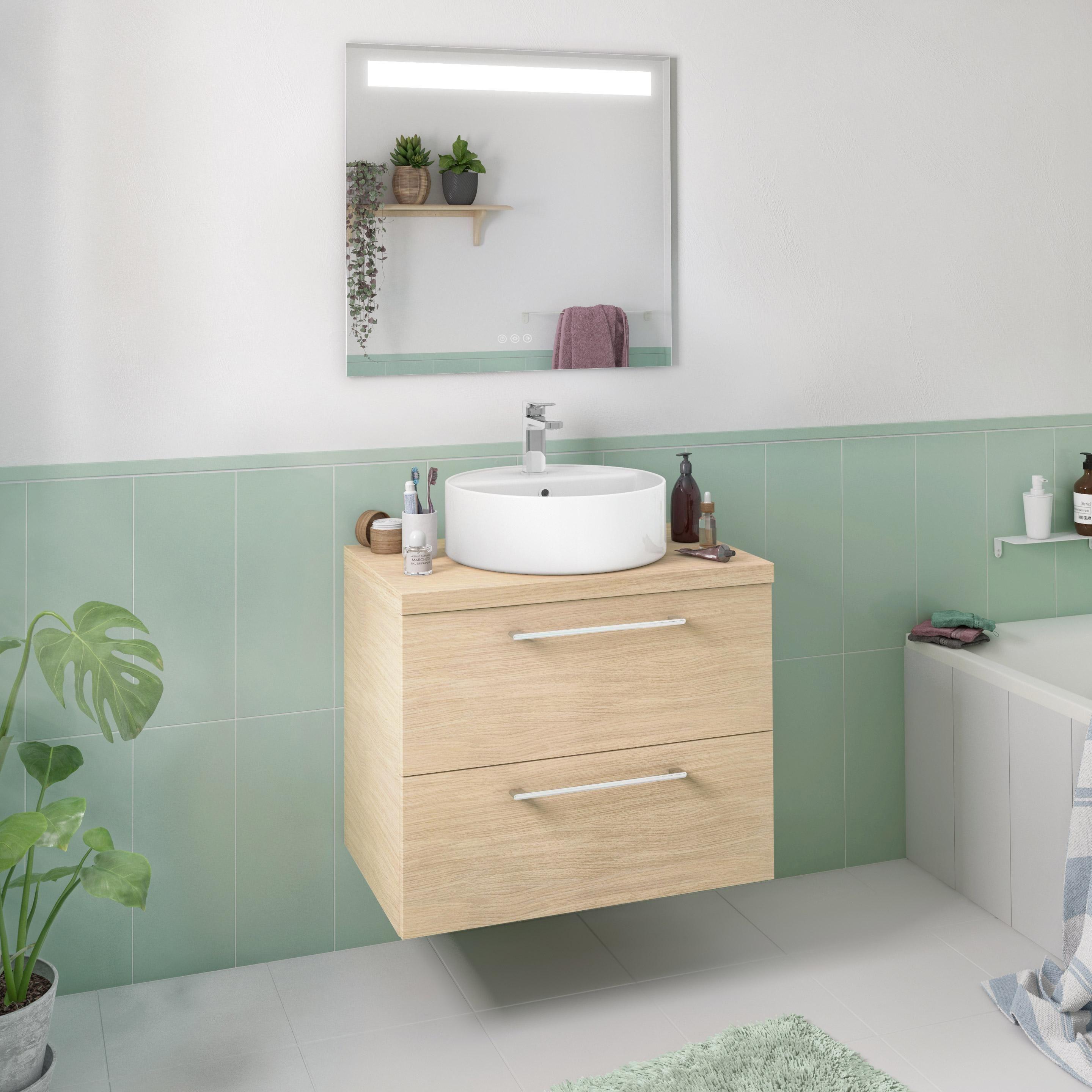 Cesta Bucato Leroy Merlin meuble simple vasque l.75 x h.58 x p.48 cm, effet chêne