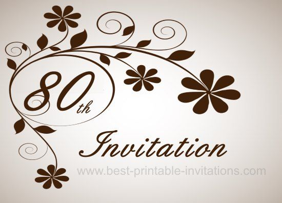 Floral 80th Birthday Party Invitation Card Free printable from – 80th Birthday Party Invitations Templates