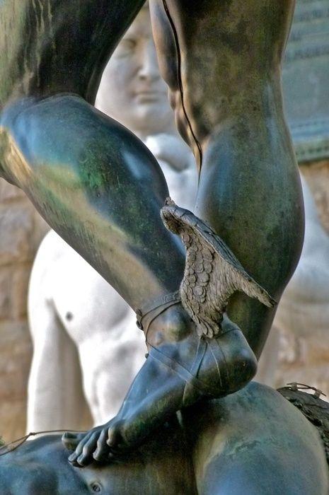 c3f1ff957 Detail of Cellini s 1545 sculpture of Perseus - winged sandals. Loggia dei  Lanzi