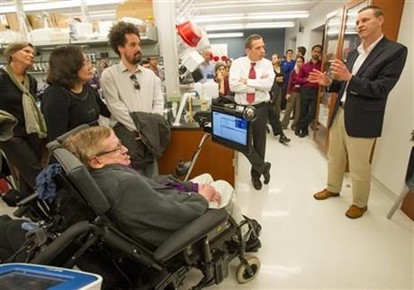 Physicist Stephen Hawking Visits L.A. Stem Cell Lab. By Alicia Chang, at A.P. / The Big Story. #hcinno #research #ALS
