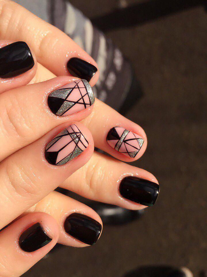 Geometric nail art | Fancy nails | Unhas elegantes e decoradas | Black,  Pink and - Geometric Nail Art Fancy Nails Unhas Elegantes E Decoradas