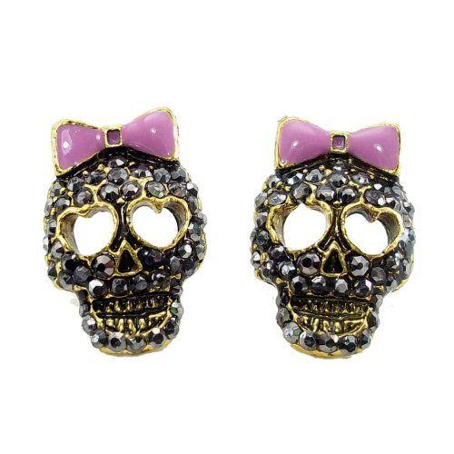 9e81f9a74 DaisyJewel Dark Skulls Top Seller Marcasite Crystal Sugar Skull Calavera Stud  Earrings DaisyJewel http:/