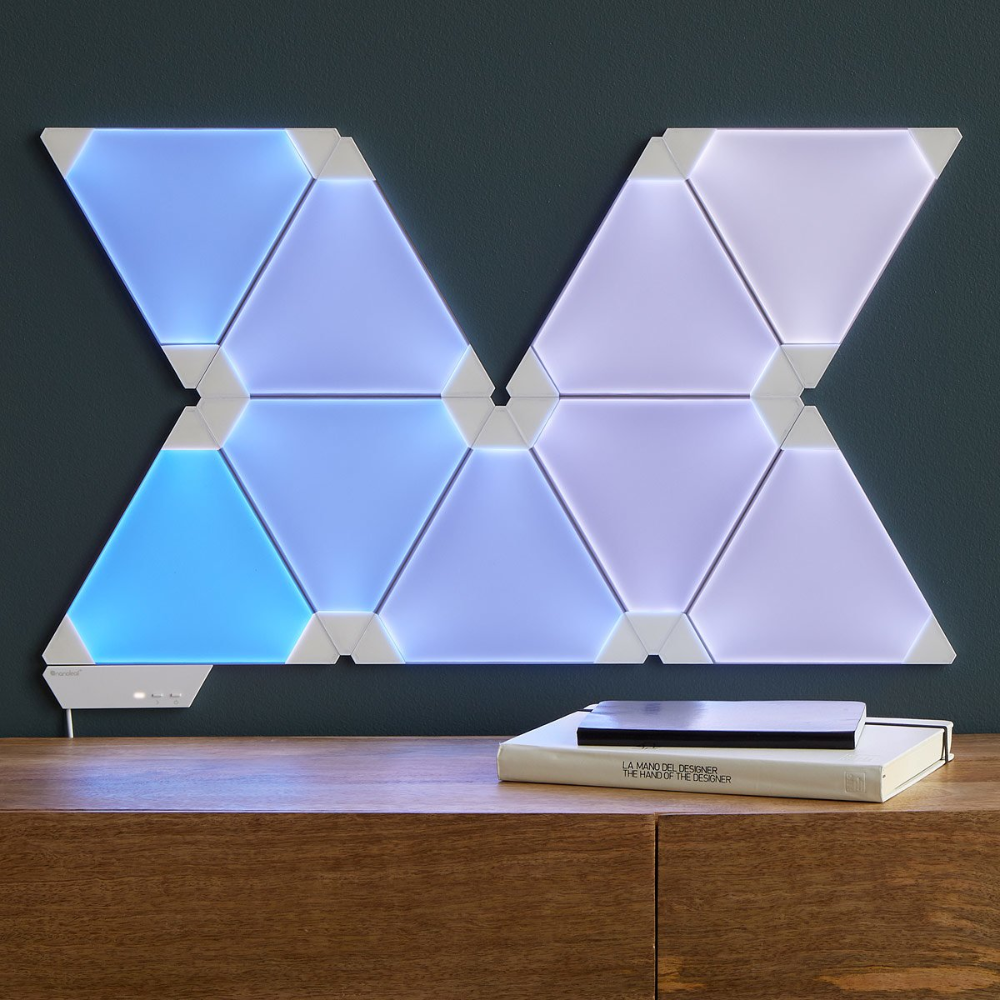 Create Signature Scenes In Any Room With This Set Of Customizable Interlocking Led Panels Smart Lighting Nanoleaf Designs Wall Design