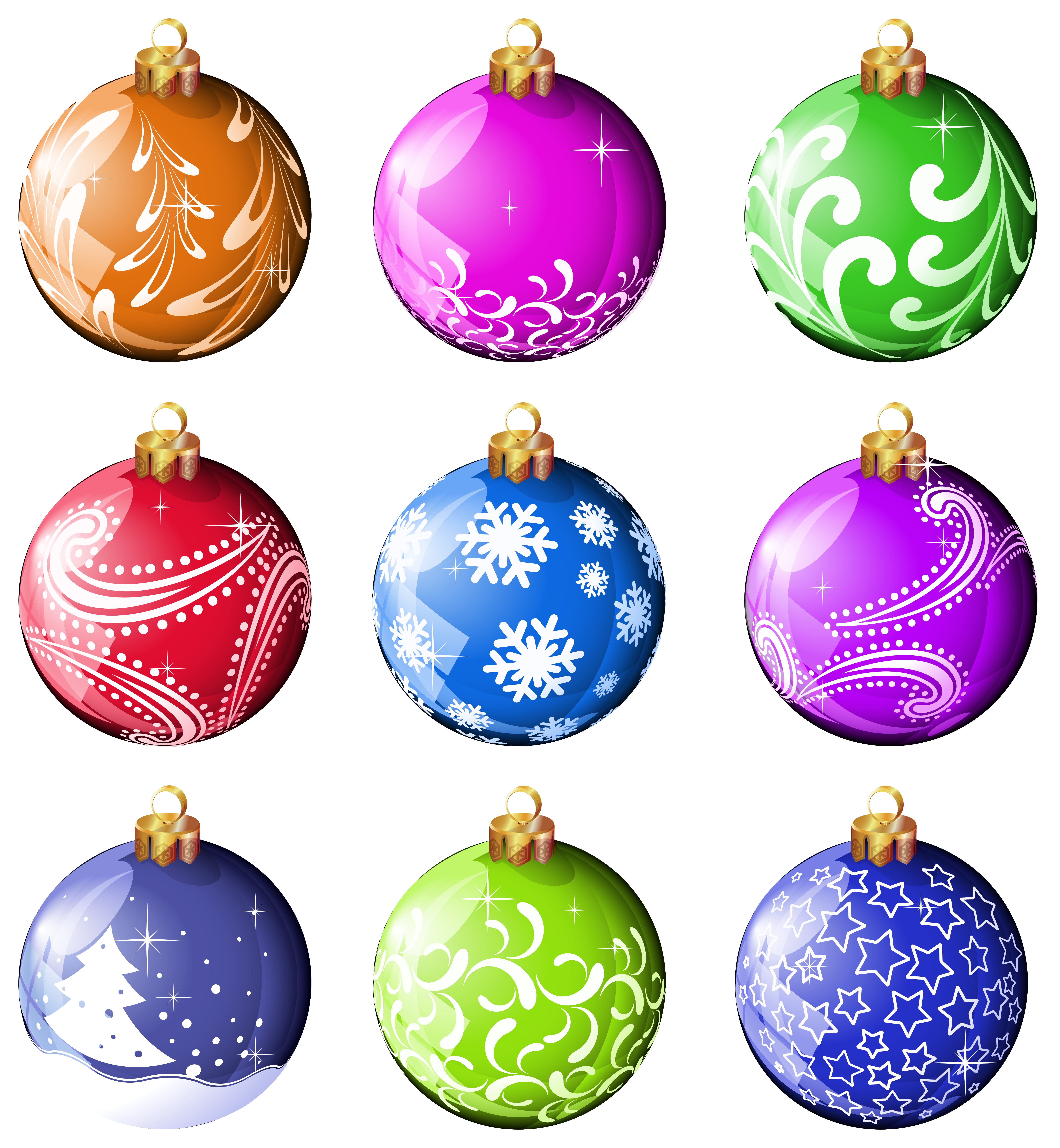 Collection Christmas Balls Ornaments Clipart