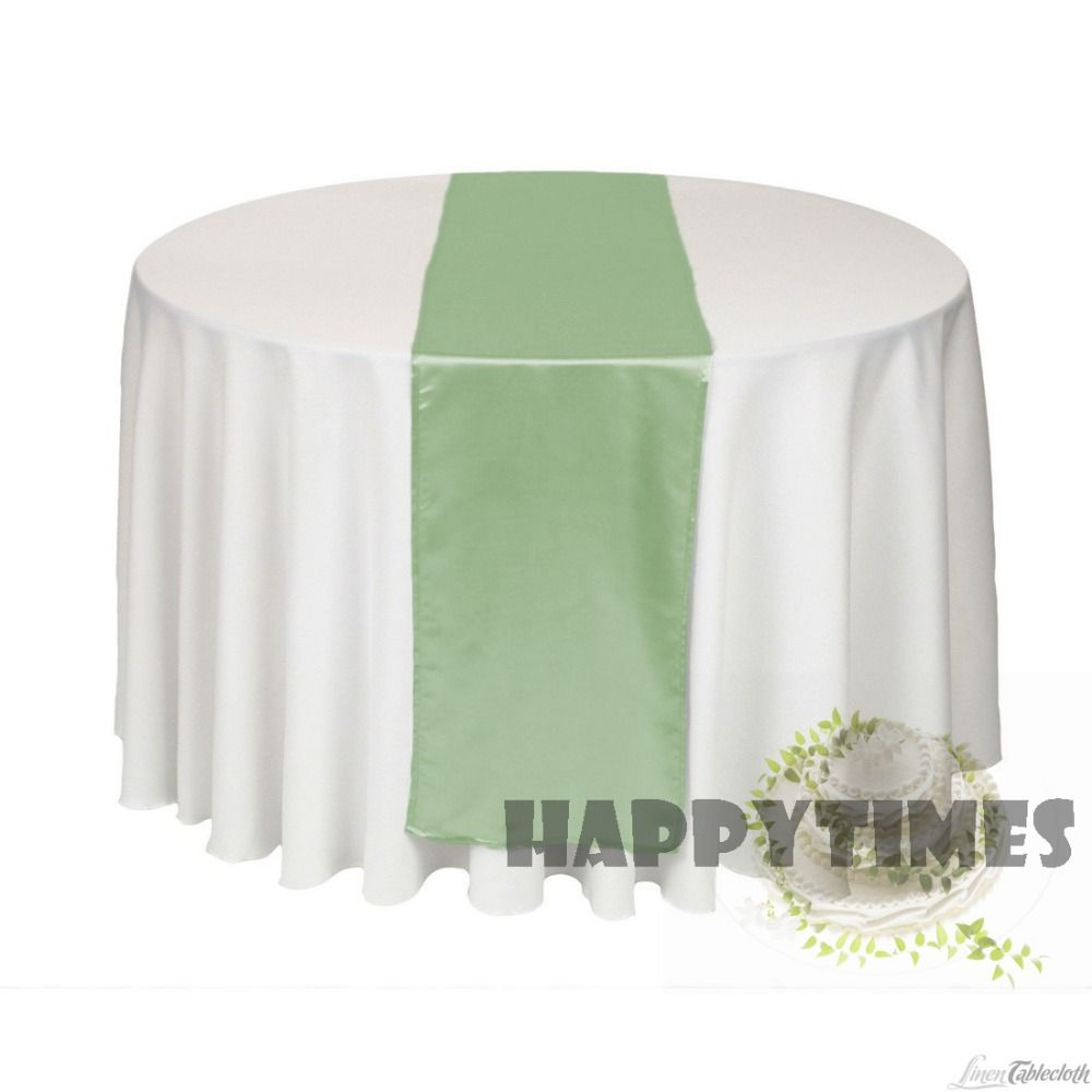 20 Pieces Sage Green Table Runner For Round Table Table Linen