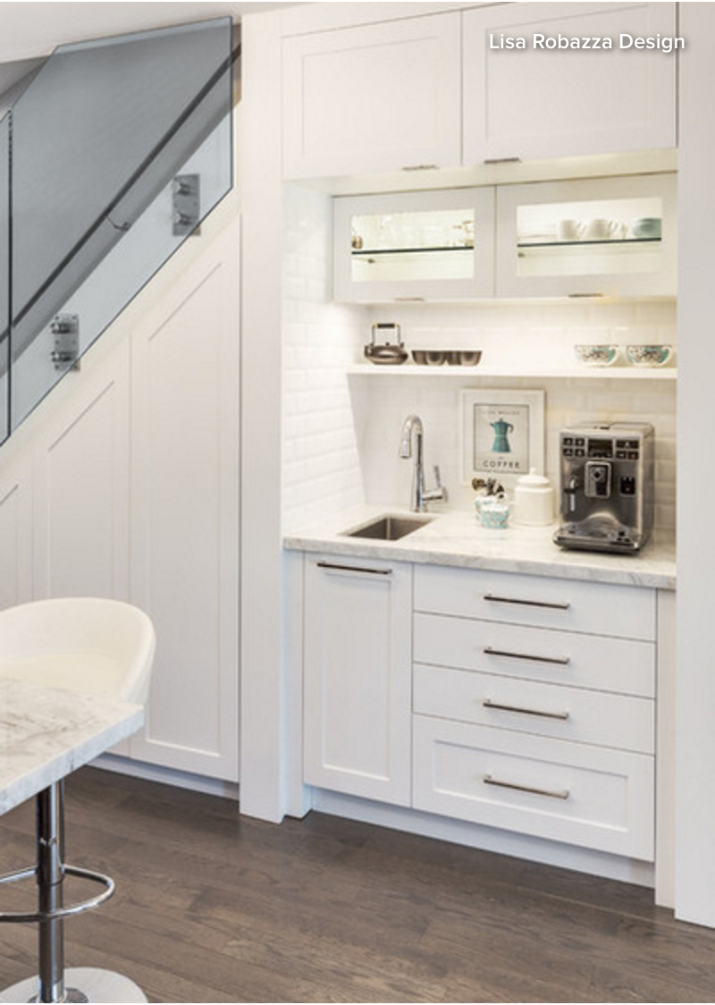 All White Bar Nook With Small Sink Drawers Coffee Station Subway Tile From Lisa Robazza Design Kitchen Cabinet Remodel Basement Kitchen Coffee Kitchen