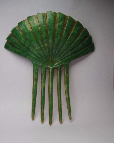 SIGNED-ANTIQUE-ART-DECO-PLASTIC-CELLULOID-JAPANESE-FAN-HAIR-COMB-ACCESSORIES