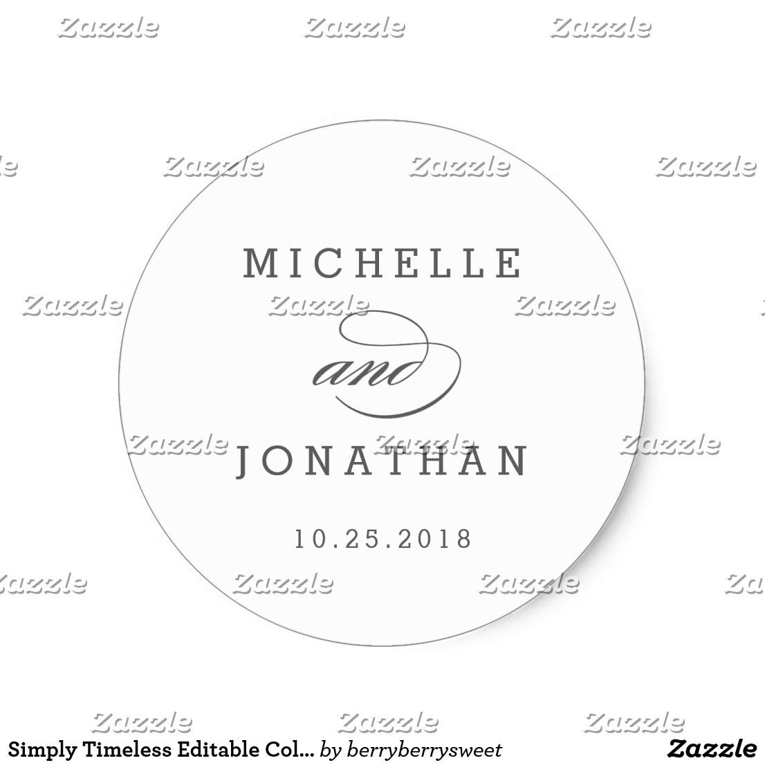 Simply Timeless Editable Color Wedding Sticker | Wedding stickers ...