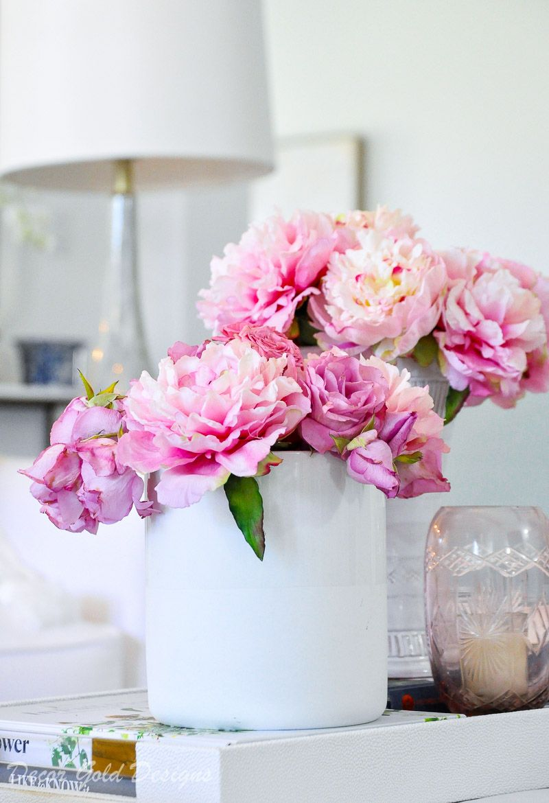 5 Tricks To Make Faux Flowers Look Real Faux Flowers Faux Flower Arrangements Coffee Table Styling