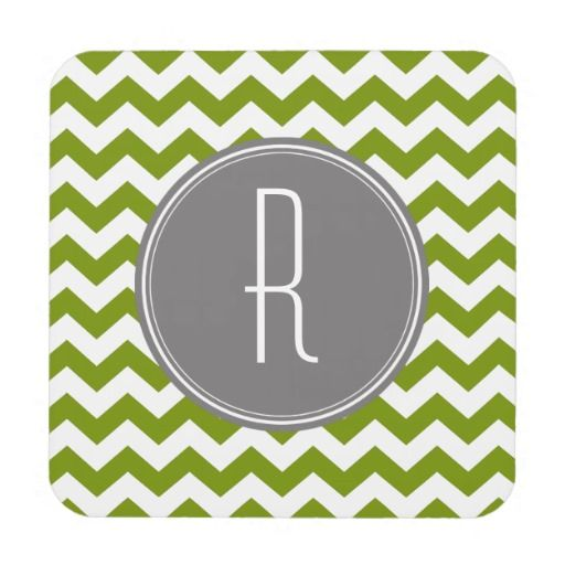 Chevron Pattern with Monogram - green black Drink Coaster