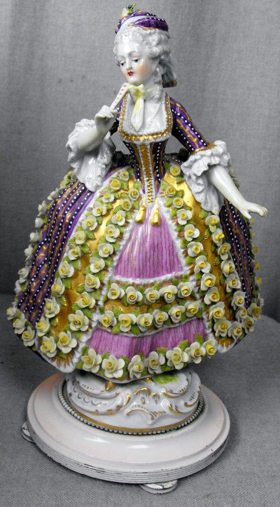 Antique dresden porcelain lady figurine boudoir lamp base ...