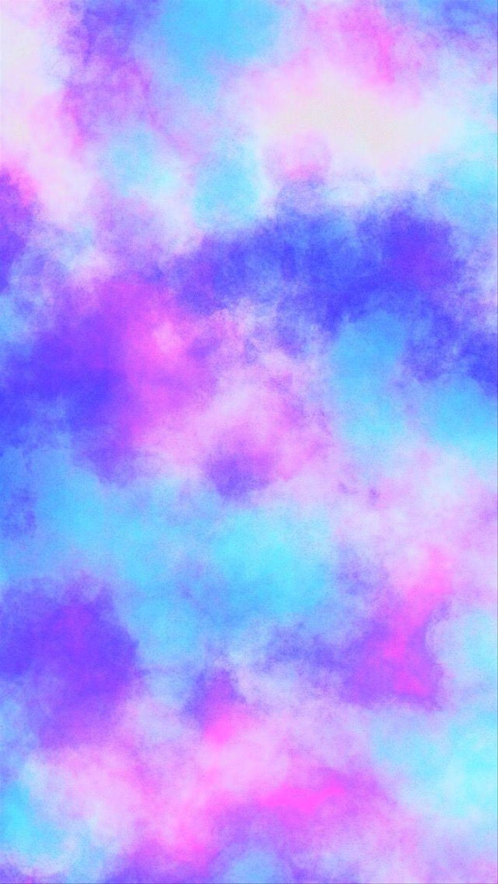 Sky Blue Purple Violet Pink Pattern Aquarell Tapete Regenbogen Hintergrundbild Hintergrund Iphone