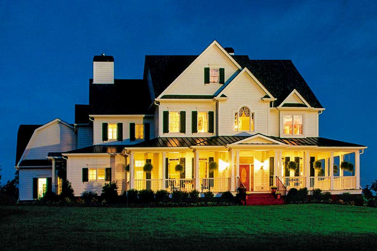 Plan 710146btz 5 Bed Country Home Plan With Wraparound Porch And 3 Fireplaces Wraparound Porch House Plans Country Style House Plans Porch House Plans