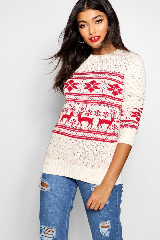 Womens Fairisle Snowflake Reindeer Christmas Sweater White Xl In 2021 Reindeer Christmas Sweater Christmas Sweaters Funny Christmas Sweaters [ 1500 x 1000 Pixel ]