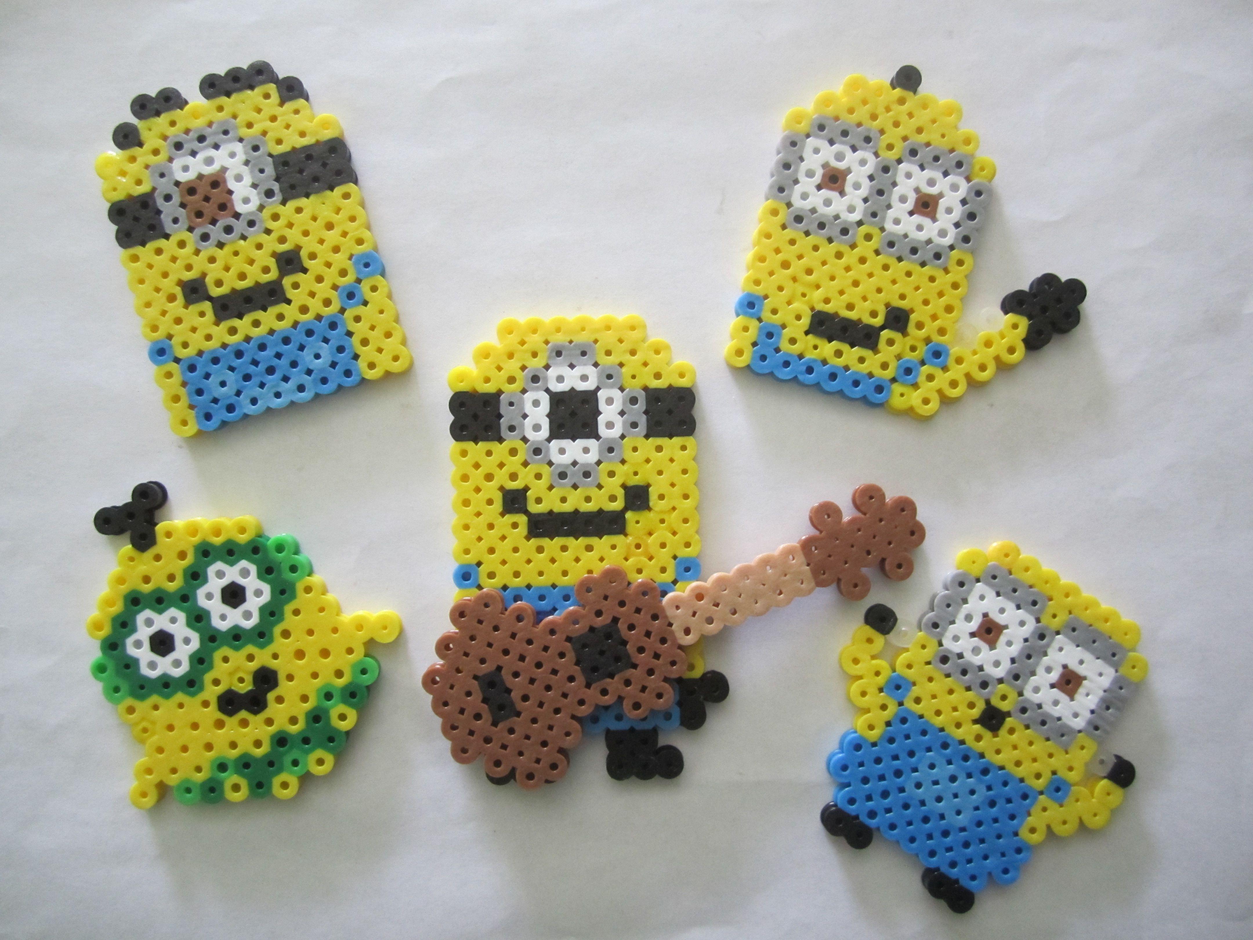 Assorted Minions perler beads by Angela Albergo