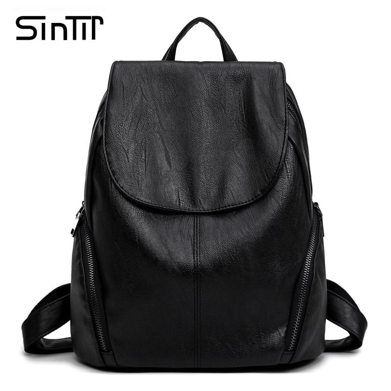 SINTIR Women Fashion High Quality PU Leather Backpacks Casual School Bags  For Teenage Girls Travel Shopping 79fe18fb66b63