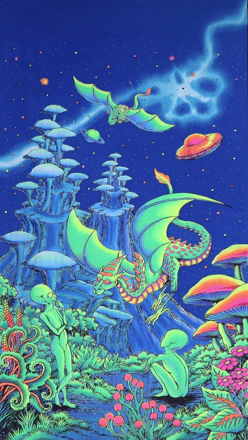Trippy wall hanging 'Aliens and Dragons'. Fantasy tapestry, trippy wall art. Psychedelic Tapestry, UV reactive wall-hanging, Blacklight art
