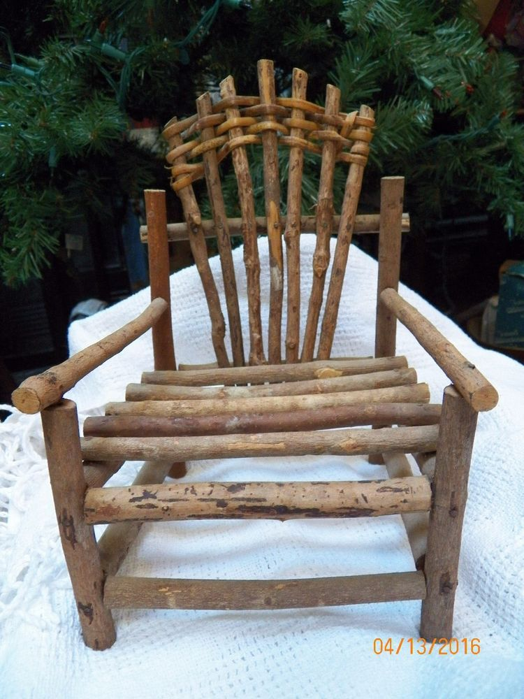 "Vintage Rustic Primitive Wood Wooden Twig Handmade Doll's Doll Chair 12"" tall   #Unbranded"
