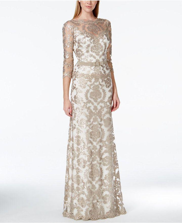 Tadashi Shoji Damask Sequin Lace Bow Gown   Ball   Pinterest   Lace ...