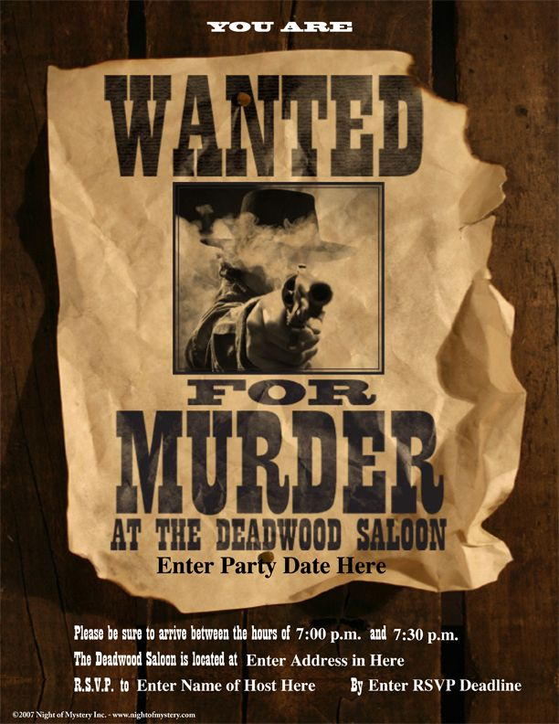 Download an invitation for this wild western murder mystery party - invitation wording for mystery party