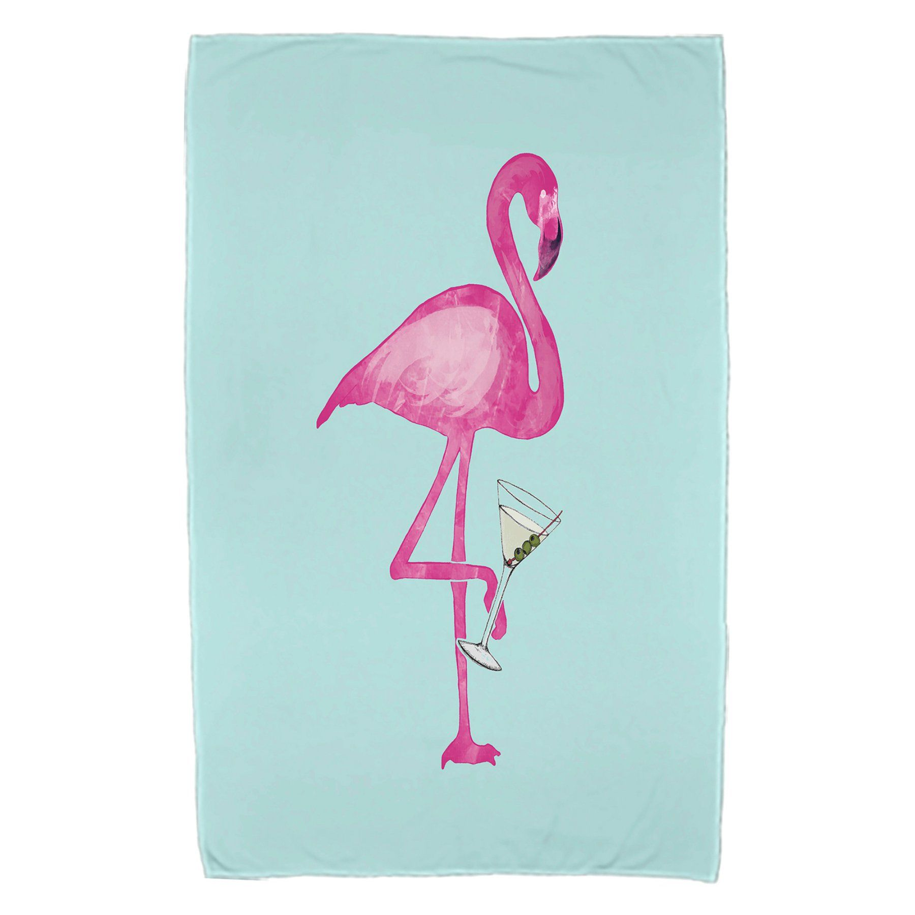 E By Design Single Flamingo Print Beach Towel Beach Towel