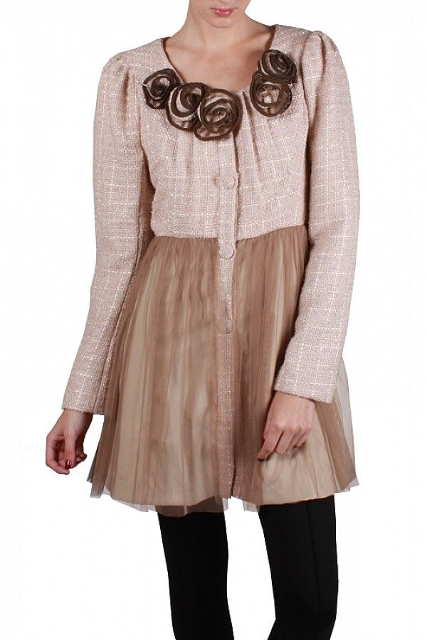Springtime Blush!  Blush Tweed with Taupe Tulle and Mocha Accents, make up a Springtime Dream Jacket...SML...$149 Call to Order 239-403-3550 Email claudette@petuniasofnaples.com