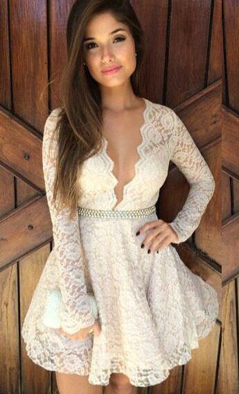 V neck white lace dress.