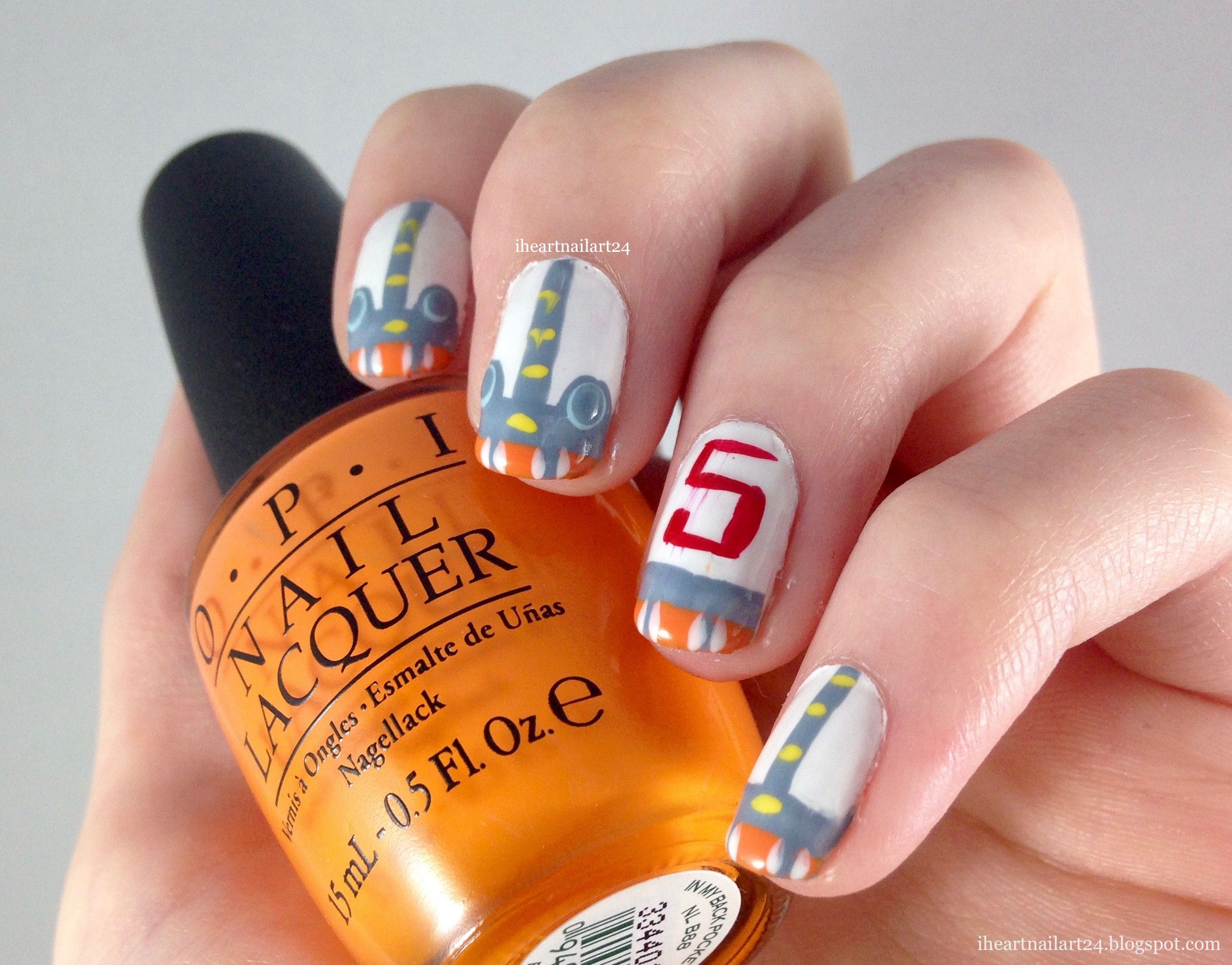 Subnautica Lifepod Inspired Nail Art. Makeup nails art