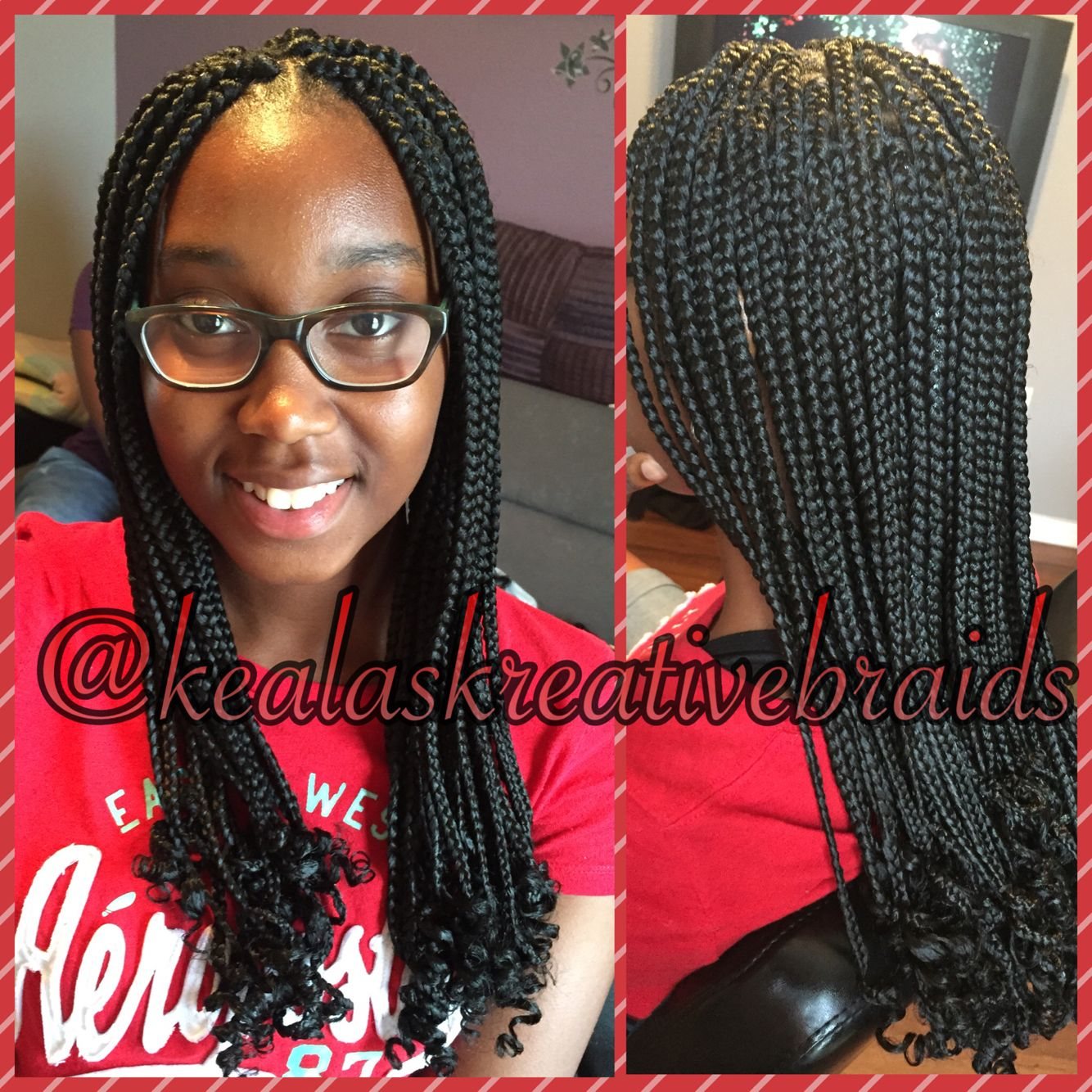 box braids with curly ends. | keala's kreative braids | box