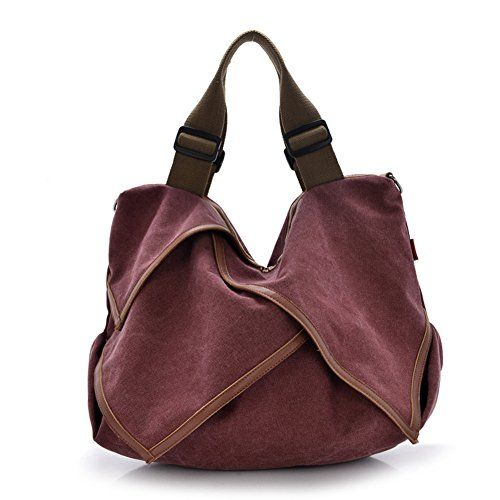 DRF Women's Vintage Canvas Hobo Handbag Extra Large Travel Tote Shopping Bag BG-135 (Red) >>> Click on the image for additional details.
