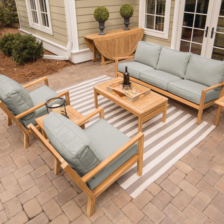 coastal 6 piece teak patio conversation