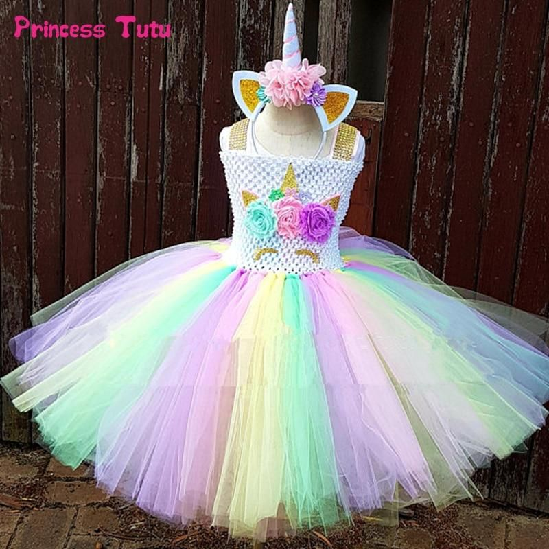 026d1c4c9e8 Rainbow Unicorn Tutu Dress Girl Kids Halloween Birthday Party Dress Children  Princess Tulle Dress Little Horse Cosplay Costume