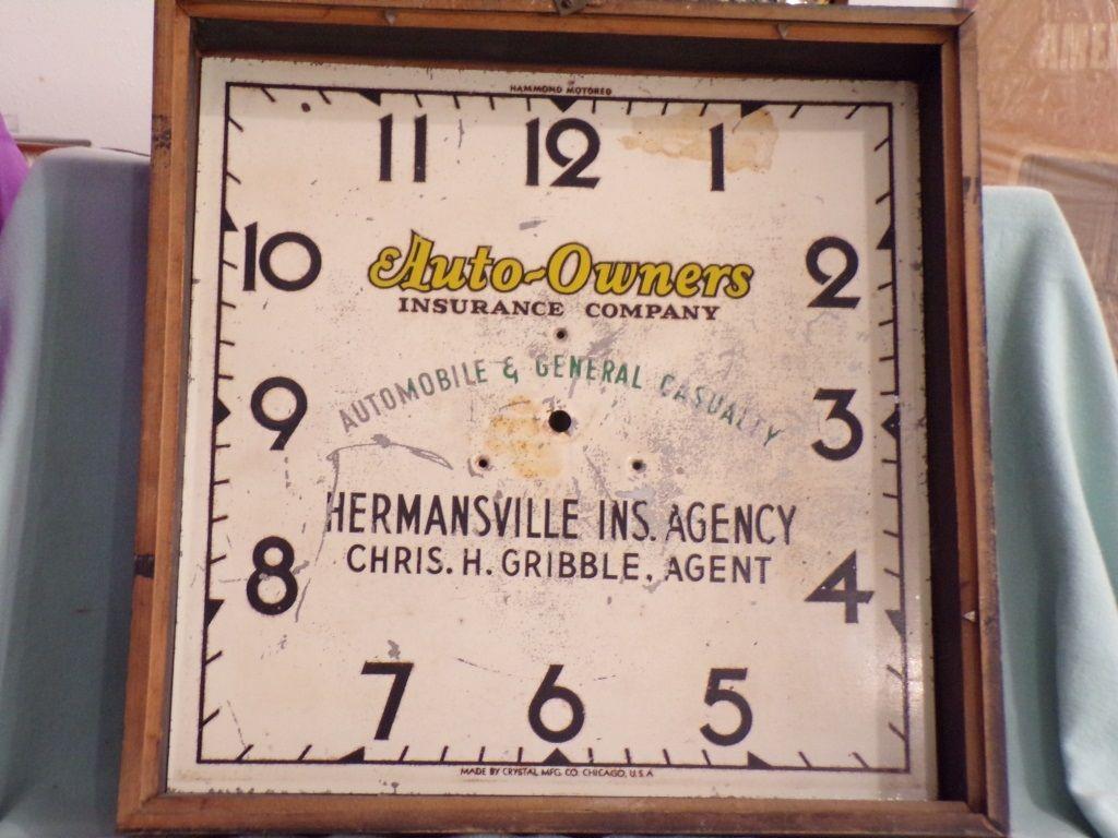 AUTOOWNERS/BERGER BEER ADVERTISING CLOCK Advertising