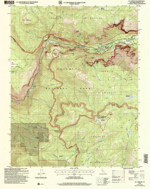Printable Map Of Yosemite Vintage Topographic U S National Park